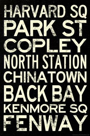 Boston MBTA Stations Vintage Subway RetroMetro Travel Plastic Sign Plastic Sign