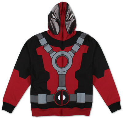 Deadpool hoodie that zips; black and red and grey