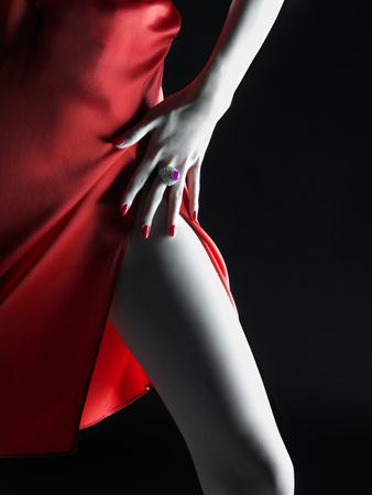 Silky Red Dress Fotoprint van Graeme Montgomery