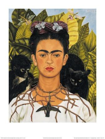 autoportrait au collier d 39 pines et au colibri 1940 affiches par frida kahlo sur. Black Bedroom Furniture Sets. Home Design Ideas