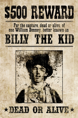 Billy The Kid Western Wanted Plastic Sign Plastic Sign