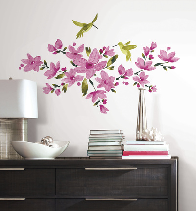 Pink Flowering Vine Peel and Stick Wall Decals Wall Decal