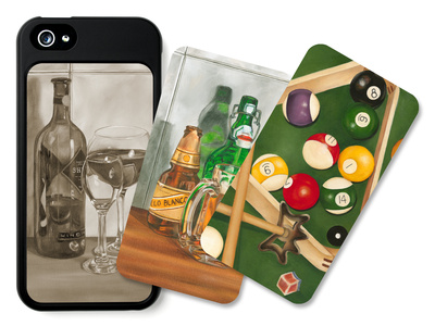 Billiards, Beer and Wine libation iPhone case design artwork by Jennifer Goldberger