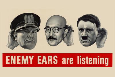 Enemy Ears Are Listening WWII War Propaganda Plastic Sign Plastic Sign