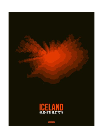 Iceland Radiant Map 1 Print by  NaxArt