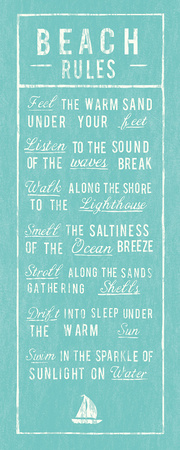 Beach Rules - Aqua Prints by  The Vintage Collection