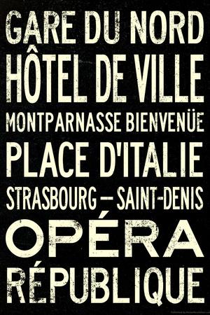 Paris Metro Stations Vintage RetroMetro Travel Plastic Sign Plastic Sign