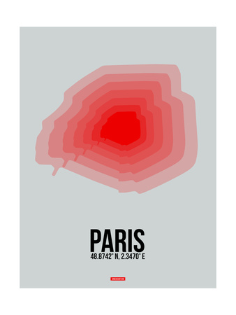Paris Radiant Map 1 Poster by  NaxArt