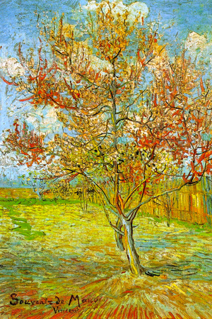 Vincent Van Gogh Pink Peach Tree in Blossom Reminiscence of Mauve Plastic Sign Plastic Sign