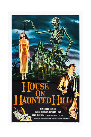 HOUSE ON HAUNTED HILL, alternate poster art for Vincent Price classic, 1959 Prints