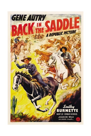 BACK IN THE SADDLE, from left: Gene Autry, Smiley Burnette, 1941. Prints