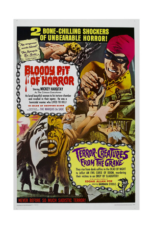 BLOODY PIT OF HORROR, TERROR-CREATURES FROM THE GRAVE, US Poster, 1965 Prints