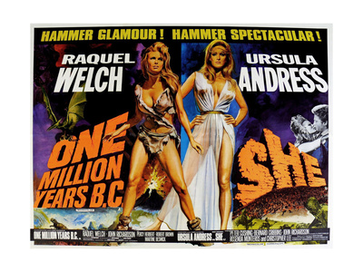 One Million Years BC, 1966, She, 1965, US lobby card Poster