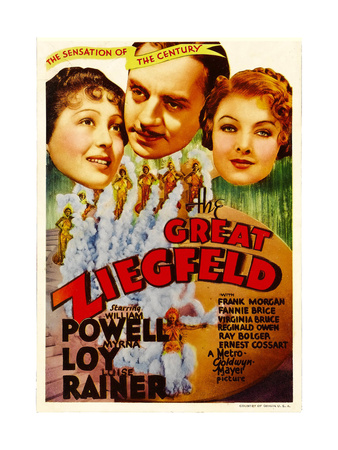 THE GREAT ZIEGFELD, from left: Luise Rainer, William Powell, Myrna Loy on midget window card, 1936 Posters