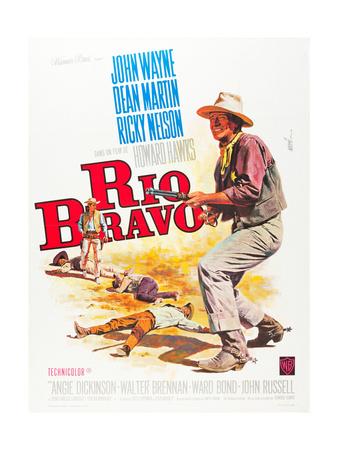 RIO BRAVO, John Wayne on French poster art, 1959. Prints