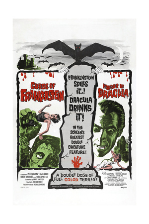 THE CURSE OF FRANKENSTEIN,  1957, HORROR OF DRACULA, 1958, Christopher Lee, US poster Posters