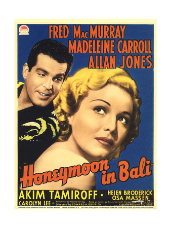 Honeymoon in Bali, Fred MacMurray, Madeleine Carroll, 1939 Posters