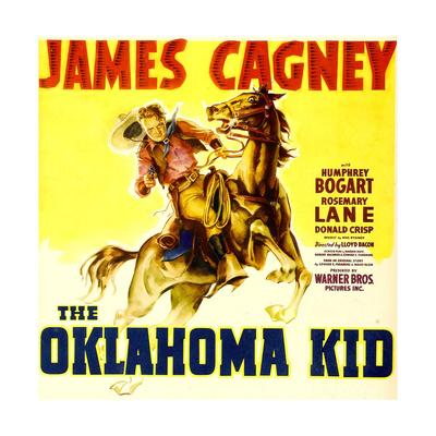 THE OKLAHOMA KID, James Cagney on window card, 1939. Prints