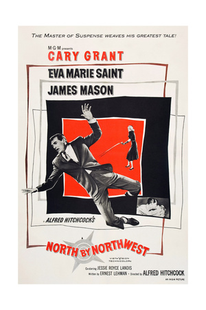 North by Northwest, Cary Grant, Eva Marie Saint on poster art, 1959 Posters
