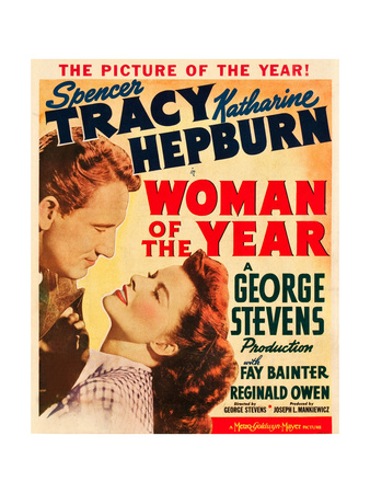WOMAN OF THE YEAR, l-r: Spencer Tracy, Katharine Hepburn on window card, 1942. Prints