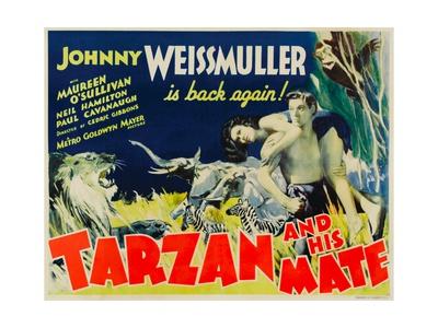 Tarzan and His Mate, Maureen O'Sullivan, Johnny Weissmuller, 1934 Print