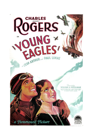 YOUNG EAGLES, US poster art, from left: Charles 'Buddy' Rogers, Jean Arthur, 1930 Prints
