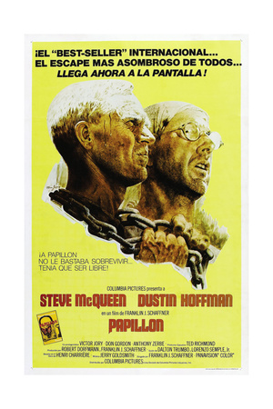 PAPILLON, Spanish language poster, from left: Steve McQueen, Dustin Hoffman, 1973 Poster
