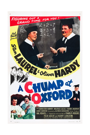 A CHUMP AT OXFORD, top and bottom l-r: Stan Laurel, Oliver Hardy on poster art, 1940 Prints!