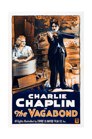 THE VAGABOND, from left: Edna Purviance, Charlie Chaplin, 1916 Print
