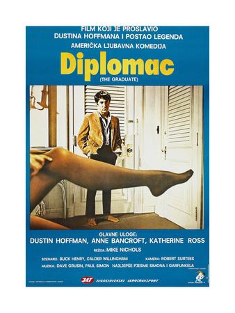 THE GRADUATE, (aka DIPLOMAC), Yugoslavian poster, Dustin Hoffman, 1967 Prints