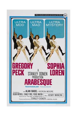 ARABESQUE, US poster, from left: Gregory Peck, Sophia Loren, 1966 Prints