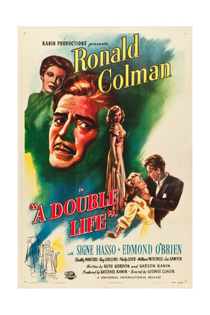 A DOUBLE LIFE, l-r: Signe Hasso, Ronald Colman, Shelley Winters on poster art, 1947. Prints