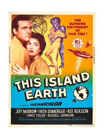 THIS ISLAND EARTH, from left: Rex Reason, Faith Domergue, Jeff Morrow on poster art, 1955. Poster