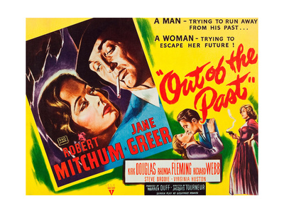 OUT OF THE PAST, top and bottom l-r: Jane Greer, Robert Mitchum on title card, 1947 Print