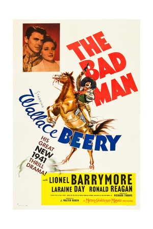 THE BAD MAN, top l-r: Ronald Reagan, Laraine Day, bottom: Wallace Beery on poster art, 1941 Posters