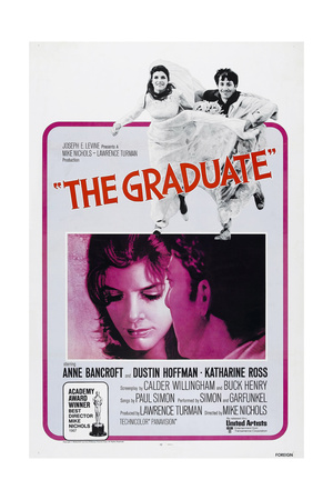 THE GRADUATE, US poster, from left: Katharine Ross, Dustin Hoffman, 1967 Posters