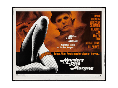 MURDERS IN THE MORGUE, top: Herbert Lom on title card, 1971. Posters