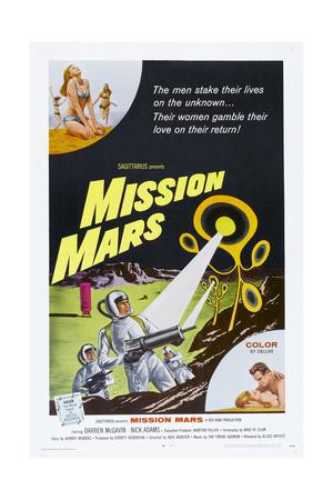 MISSION MARS, US poster, bottom right: Nick Adams, Heather Hewitt, 1968 Art