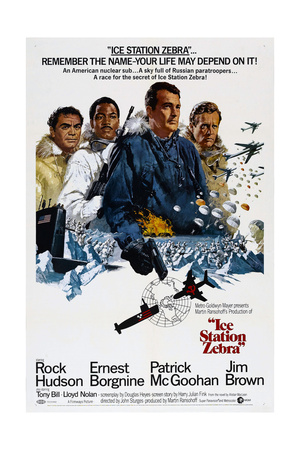 ICE STATION ZEBRA, from left: Ernest Borgnine, Jim Brown, Rock Hudson, Patrick McGoohan, 1968 Print