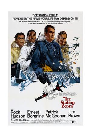 ICE STATION ZEBRA, from left: Ernest Borgnine, Jim Brown, Rock Hudson, Patrick McGoohan, 1968 Print