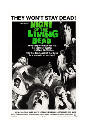NIGHT OF THE LIVING DEAD, US poster, Duane Jones, Judith O'Dea, Marilyn Eastman, 1968 Print