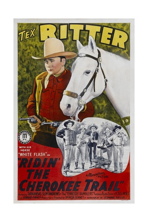 RIDIN' THE CHEROKEE TRAIL, top left: Tex Ritter, 1941. Prints