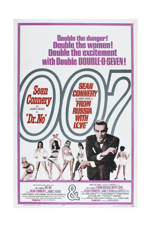 DR. NO (and FROM RUSSIA WITH LOVE), US poster, Sean Connery, 1962/1963 Print