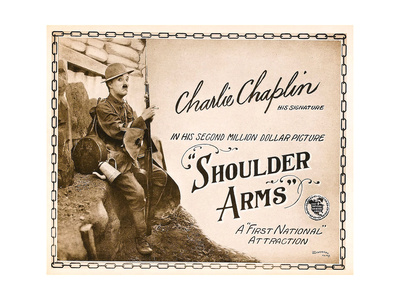 SHOULDER ARMS, on left: Charles Chaplin (aka 'Charlie Chaplin') on Title Card, 1918. Posters