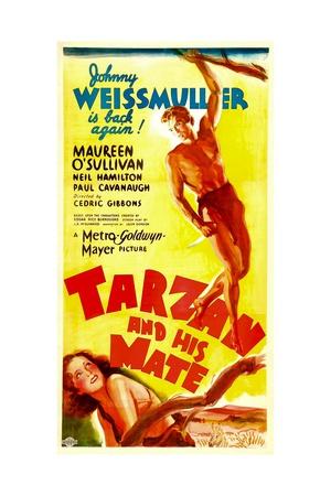 TARZAN AND HIS MATE, top: Johnny Weissmuller, bottom: Maureen O'Sullivan, 1934. Prints