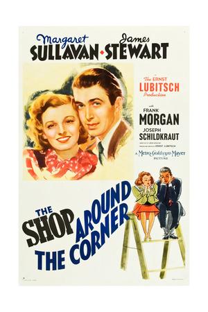 THE SHOP AROUND THE CORNER, l-r: Margaret Sullavan, James Stewart on poster art, 1940 Prints