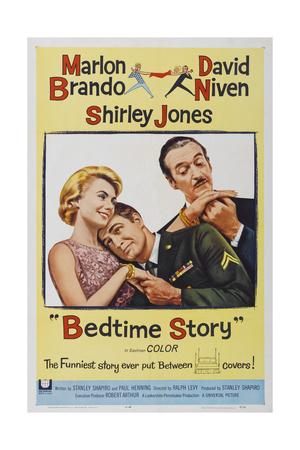 BEDTIME STORY, US poster, from left: Shirley Jones, Marlon Brando, David Niven, 1964 Poster