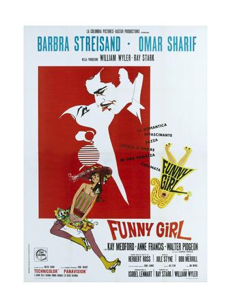 FUNNY GIRL, Italian poster, from left: Barbra Streisand, Omar Sharif, 1968 Print