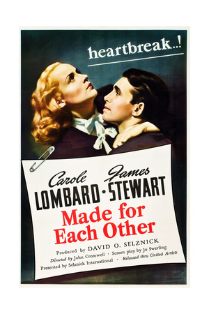 MADE FOR EACH OTHER, US poster art, from left: Carole Lombard, James Stewart, 1939 Print