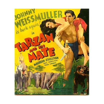 TARZAN AND HIS MATE, from left: Maureen O'Sullivan, Johnny Weissmuller, 1934. Poster